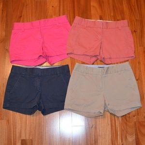 Lot of 4 J. Crew Broken-In Chino shorts size 00
